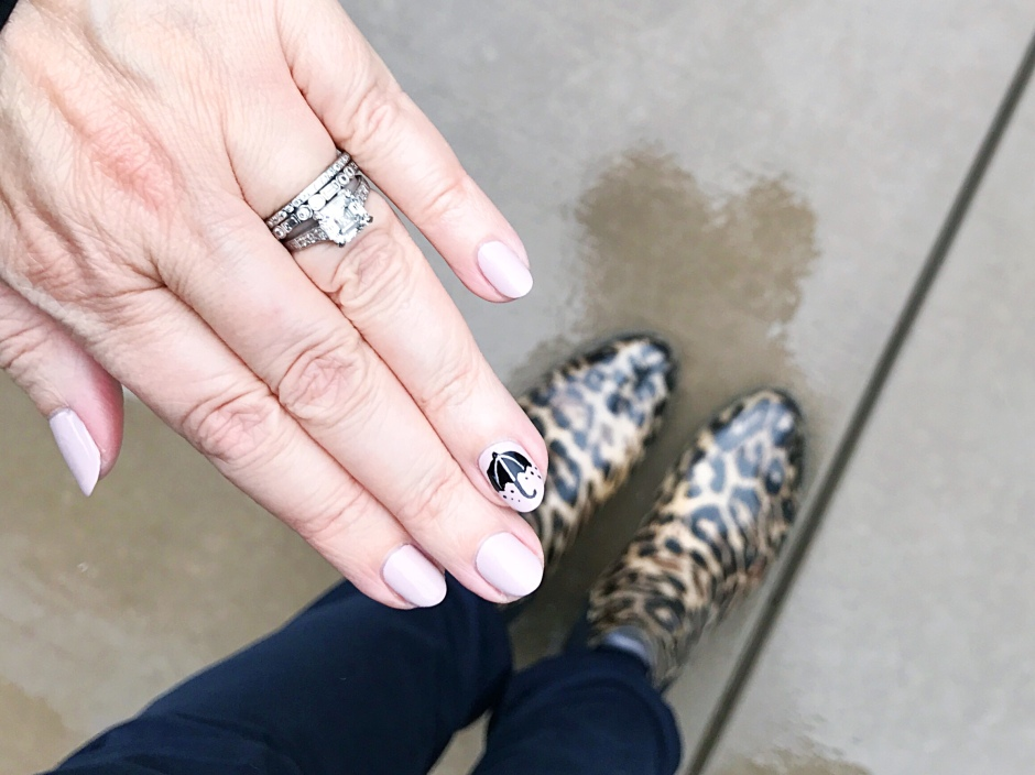 Mani Monday – Umbrella Edition – the navy leopard