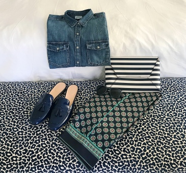 jcrew foulard stripes chambray flatlay