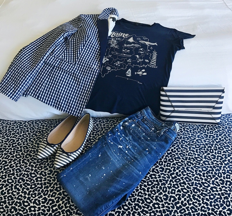 jcrew gingham paint splatter maine flatlay