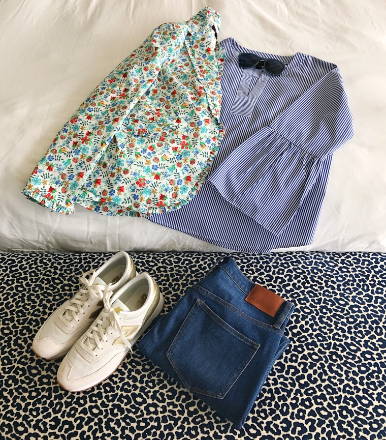 jcrew striped bell sleeve liberty flatlay