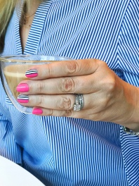 stripes mani jcrew coffee