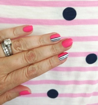 stripes mani jcrew pink