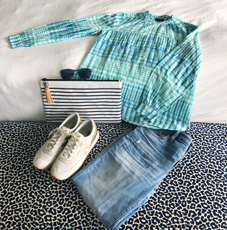 jcrew gingham ikat stripes vintage crop jean flatlay