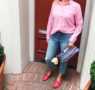 jcrew pink gingham legends of lido prada 1
