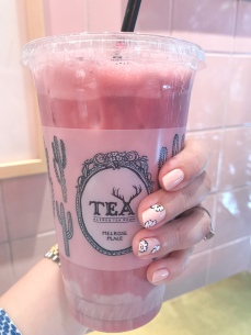 pink chanel nail art floral alfred tea