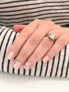 stripes floral chanel nail art