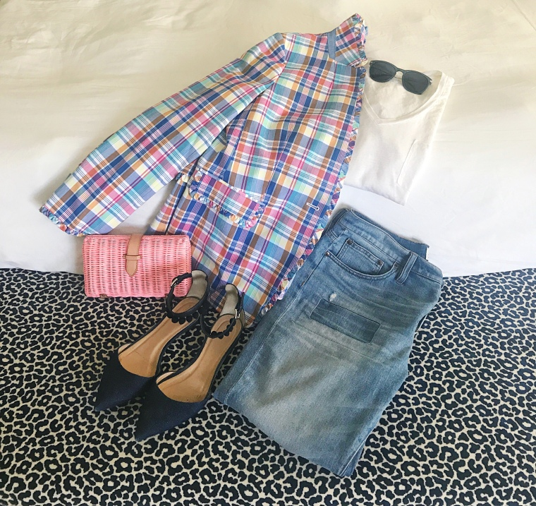 jcrew plaid pink flatlay