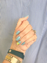 mani monday sunflower nail art essie jcrew stripes