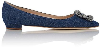 manolo denim flat