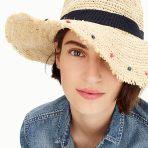 jcrew embelished packable straw hat